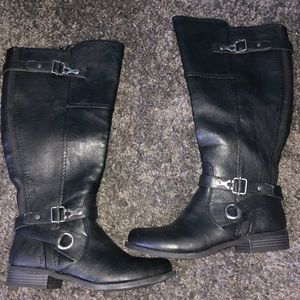 G by guess women's harvest wide calf black boots
